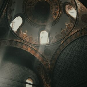 interior of old islamic palace with ornamental dome